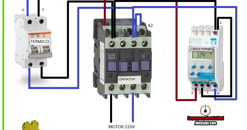 Esquemas Eléctricos Maniobra Con Contactor Y Reloj Horario