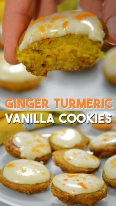 GINGER TURMERIC COOKIES FROSTED WITH VANILLA CASHEWS