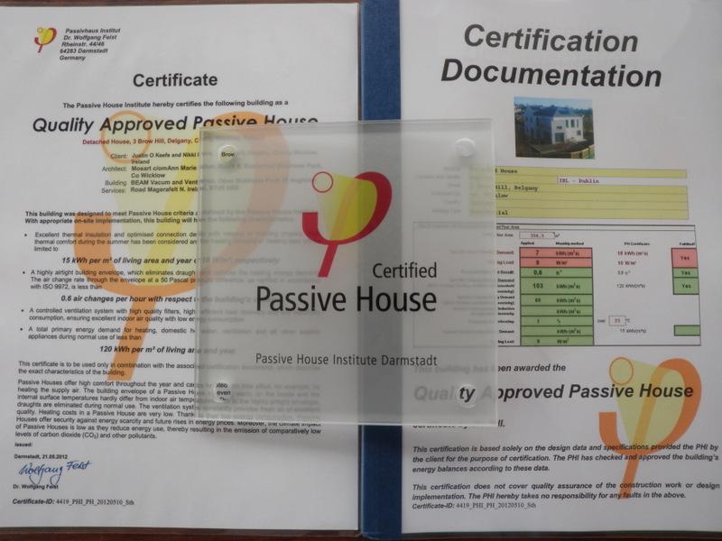 passive passivhaus ireland certified phi wicklow plaque certification few questions certificate self build building final were last
