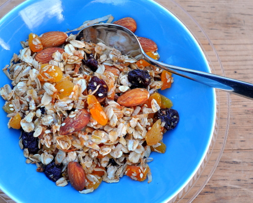 Homemade Granola with Almonds & Apricots ♥ KitchenParade.com, just a little sweetness, just a little oil, ensuring oats, nuts, dried fruit are real stars. Recipe, tips, nutrition and Weight Watchers points.