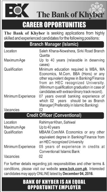 bank job, Latest Jobs in Bank of Khyber November 2016, November 2016 jobs, Bank Jobs, the bank of khyber jobs, Branch Manager at Bank, Branch manager at bank of khyber, GOVT JOBS, govt jobs in 2016,