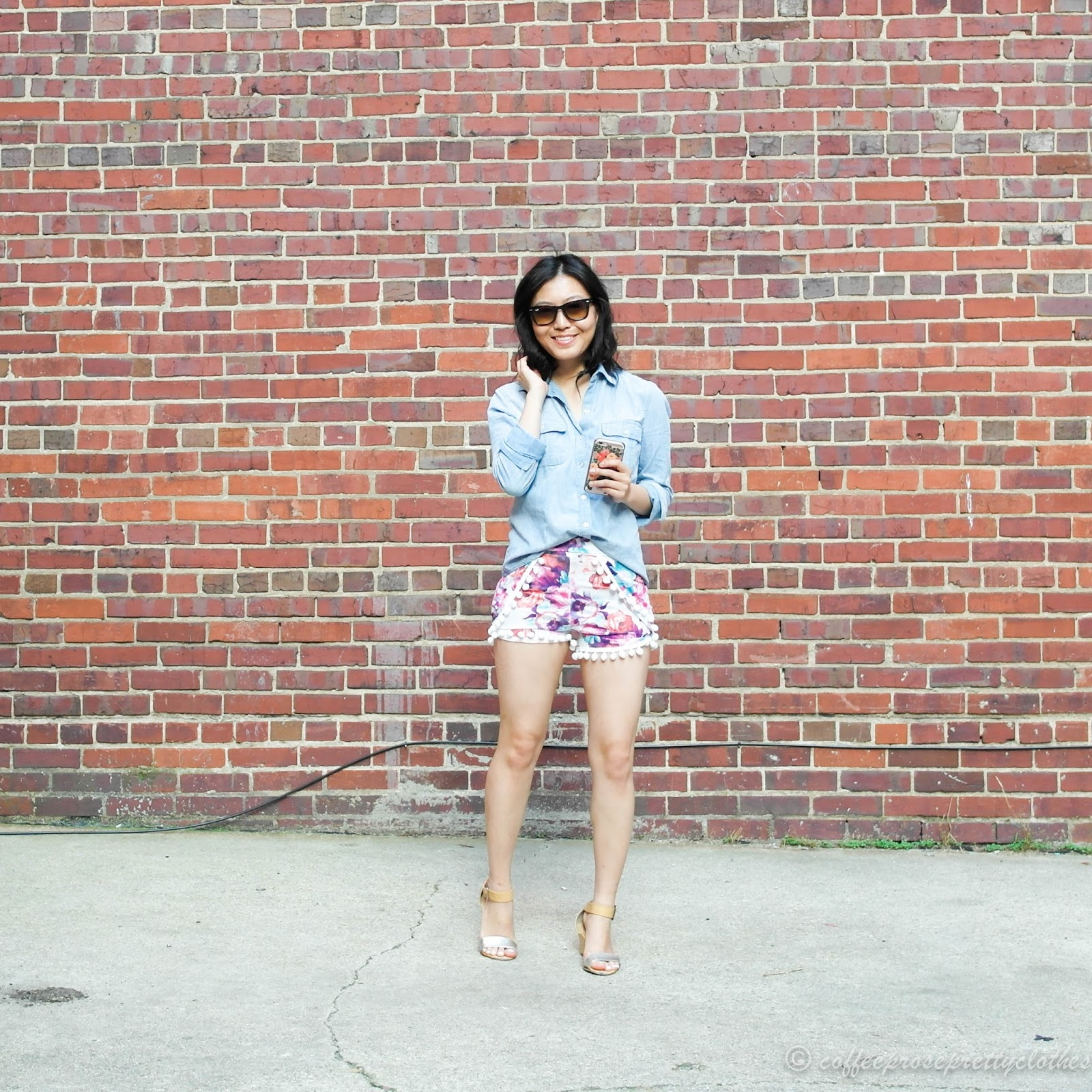 boohoo pom pom shorts, chambray, Ray Bans, iPhone