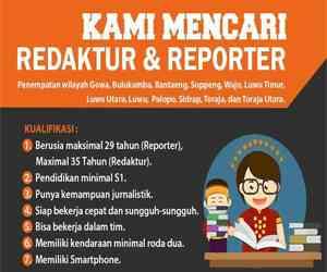 Lowongan Kerja Redaktur dan Reporter Makassar Terkini