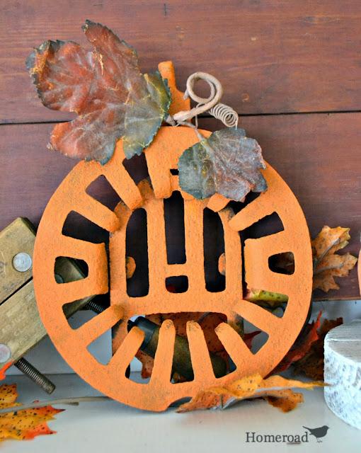 rusty orange metal pumpkin