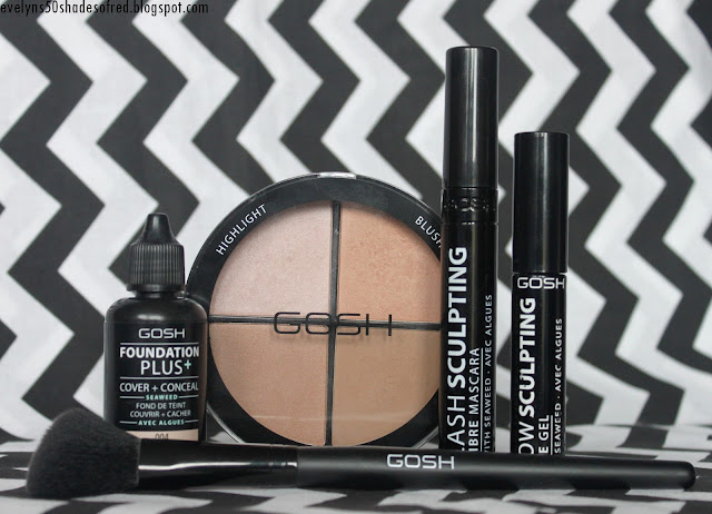 Gosh Foundation Plus, Contour'n'Strobe Kit, Lash Sculpting mascara, Brow Sculpting gel, Contour Brush
