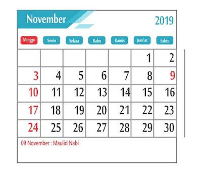 Kalender November 2019 - tanggal merah