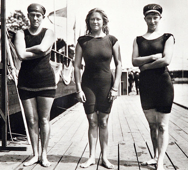 Fanny Durack, Mina Wylie, and Jennie Fletcher, the gold, silver, and bronze winners of the 100m freestyle at the 1912 Stockholm Olympics