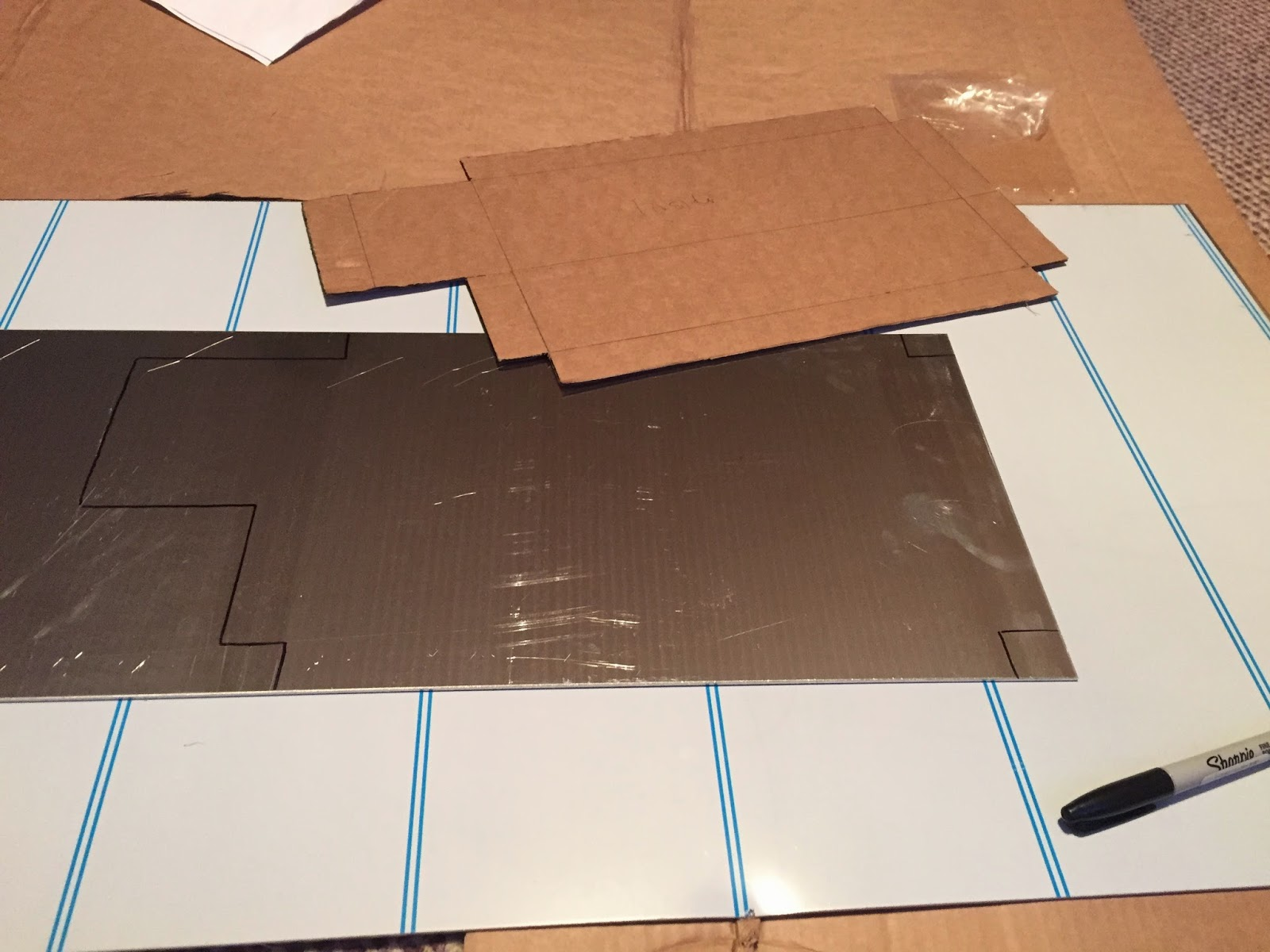 My Cardboard Template Cut And Pushed Into Place