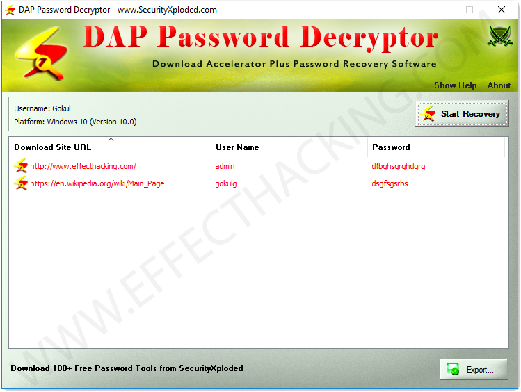 DAP Password Decryptor Login Details List