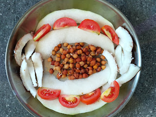 Sun cooked food - Ash gourd salad with Chickpea sprouts, Coconut, Tomato