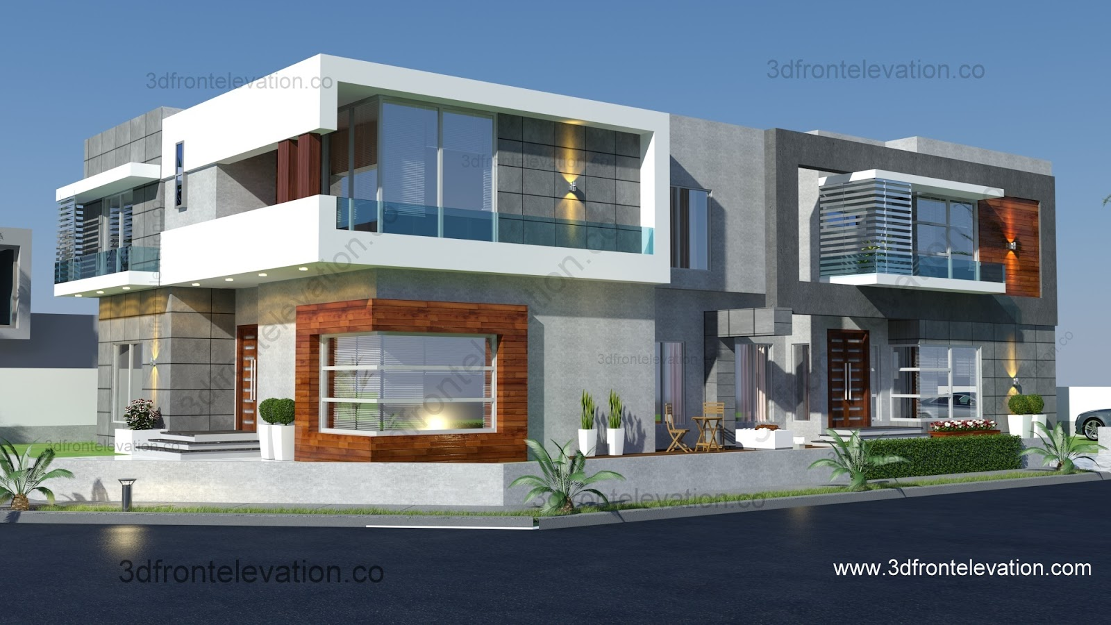 Front Elevation Of Corner Houses : D front elevation may