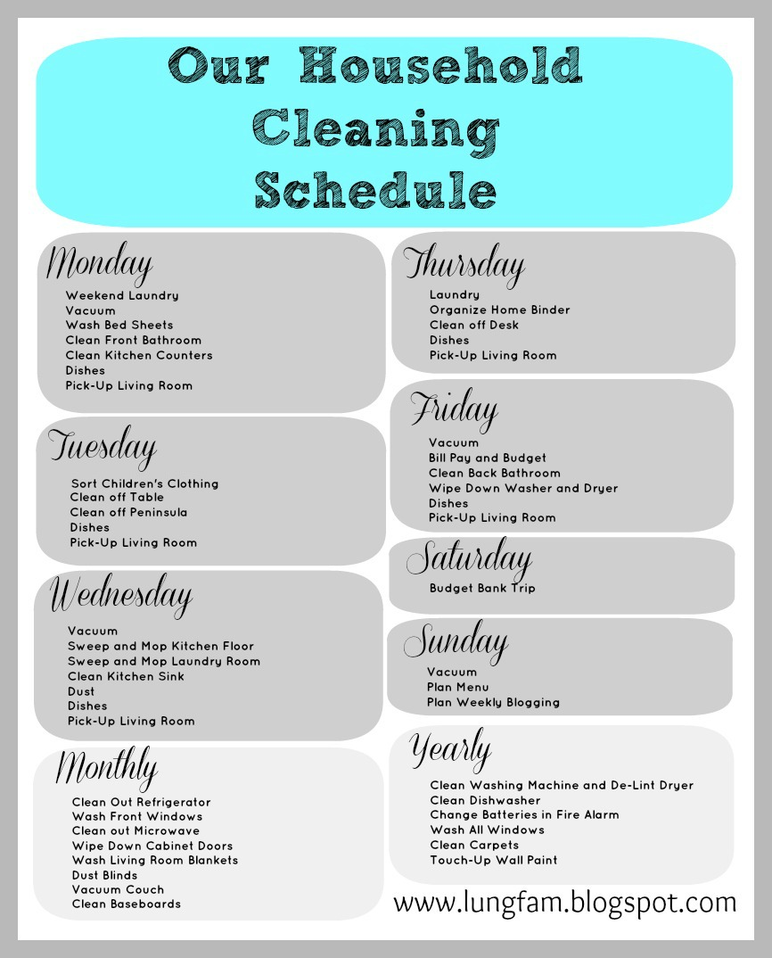 The lung family house cleaning and a free printable for Domestic cleaning schedule template