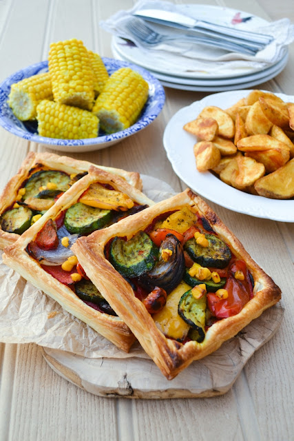 puff pastry tart, filled with roast vegetables