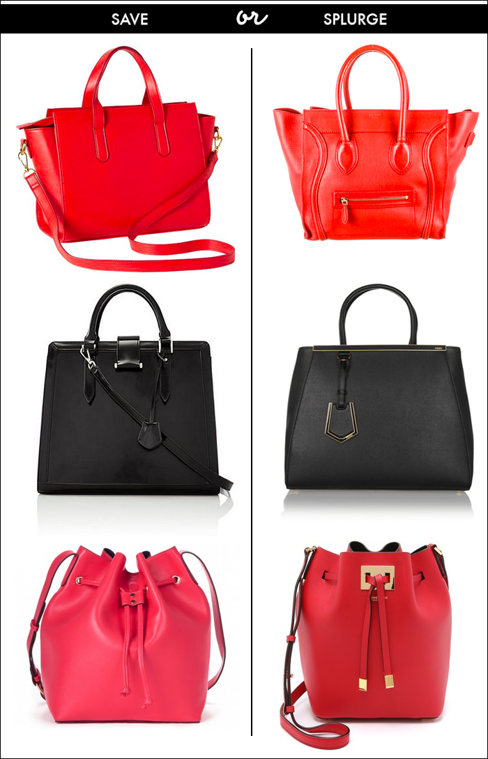 celine, fendi, michael kors, designer bags for less, budget bag, gift ideas, red celine tote, black fendi