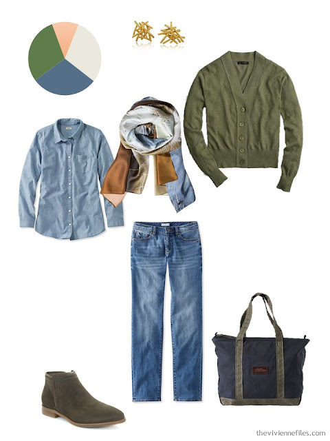 chambray shirt and jeans with olive cardigan