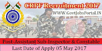 Central Reserve Police Force Recruitment 2017– 240 Sub-Inspector, Assistant Sub-Inspector & Constable