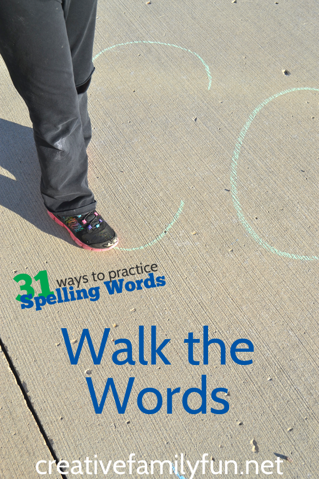 Practice your spelling words while walking. Get outside, grab your sidewalk chalk, and get moving while learning.