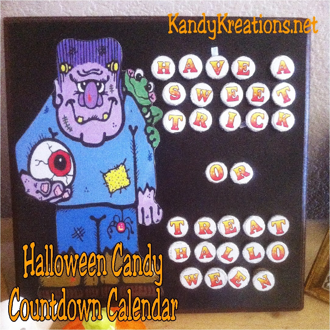 "Celebrate the coming of Halloween by making an easy Candy Countdown Calendar for your kids. This countdown calendar has Hershey kiss candy marking each day to ""Have a Sweet Trick or Treat Halloween"".  It's not as hard as it looks and is a sweet way to use candy to countdown the days to the sweetest holiday all year."