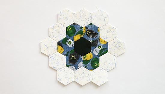 Hand Sewn EPP Hexagon Flower Block 12
