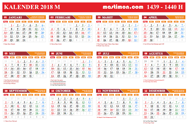 Download Gratis Kalender 2018 VEKTOR Lengkap tanggal Hijriyah dan Jawa