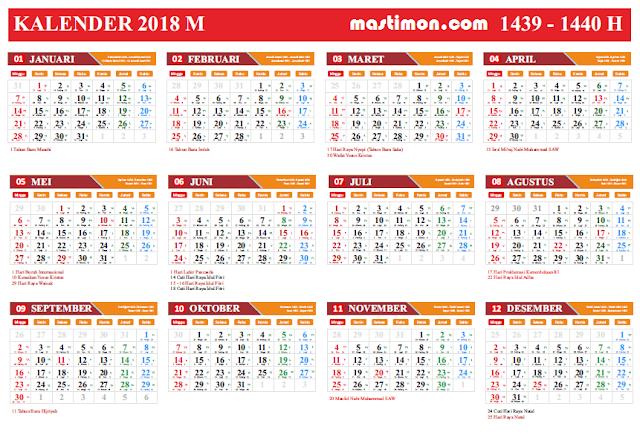Di penghujung tahun ini berbagai dari sobat yang mencari Desain Kalender  Download Gratis Kalender 2018 VEKTOR Lengkap tanggal Hijriyah dan Jawa