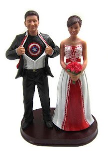 Captain America and Bride Wedding Cake Topper