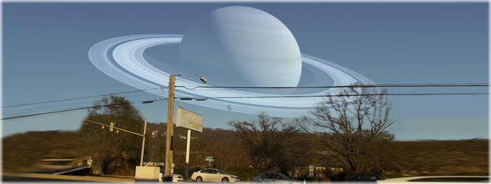 os planetas no céu no lugar da Lua
