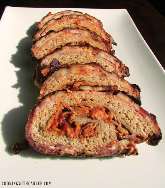 slices of turkey bacon explosion on platter ready to eat