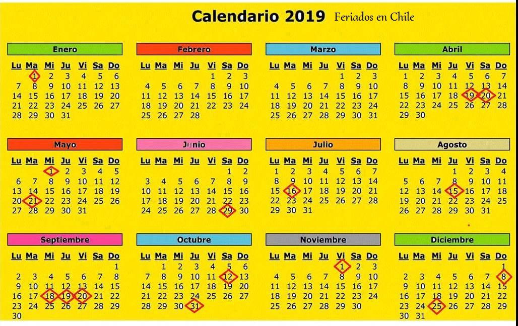 Calendario 2019 Julio Chile.Las Preguntas De Dios Calendario Con Feriados En Chile