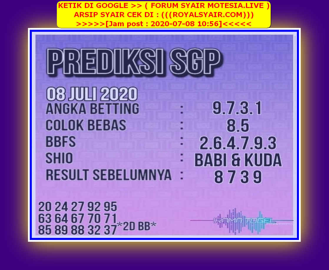 Kode syair Singapore Rabu 8 Juli 2020 181