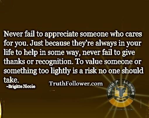 never fail to appreciate
