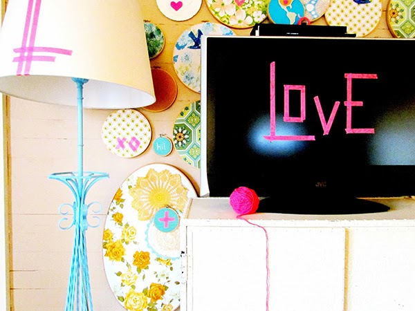 Washi tape in the living room & embroidery hoop fabric wall art