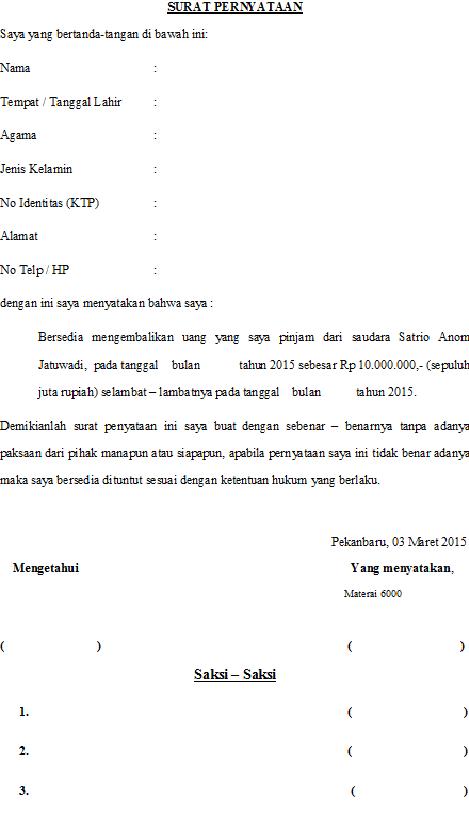 Contoh Surat Pernyataan Pelunasan Pembayaran Pinjaman ...