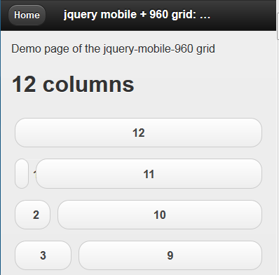 jQuery Mobile 960 A Grid For jQuery Mobile For Tablets Layout - Top