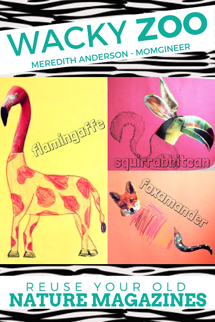 Create an unusual and wacky zoo! This is a fun project to do with old nature magazines. Cut out parts of the animals and piece them together or draw your own. | Meredith Anderson - Momgineer