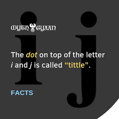 """English Facts: The dot on top of the letter i and j is called """"tittle""""."""