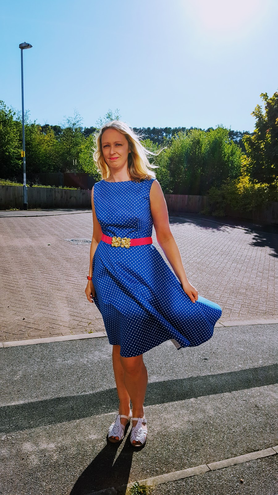 Going Out Out: Over 40 Style  Blue Polka Dot Dress