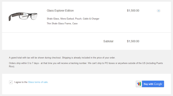 Purchase Google Glass with Google Checkout