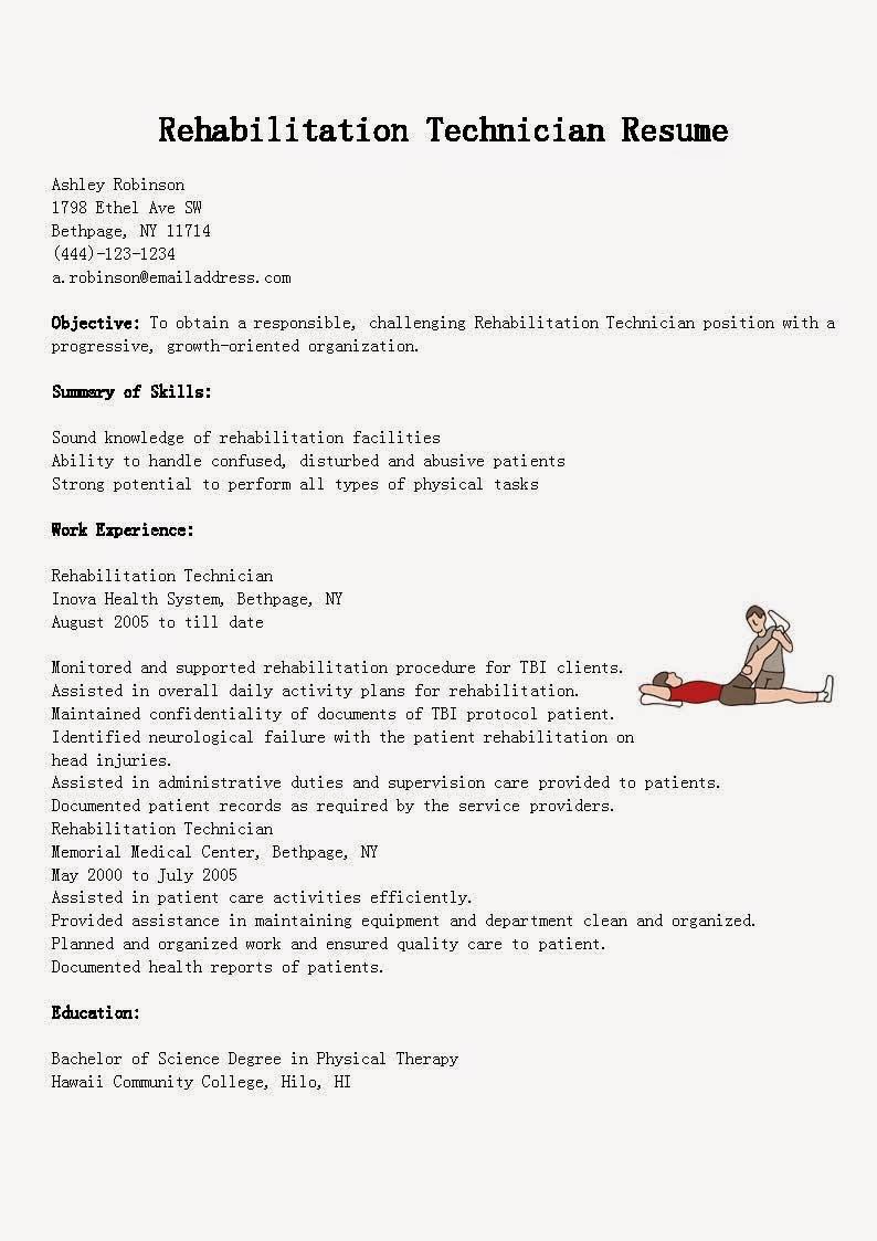 Resume Samples Rehabilitation Technician Resume Sample