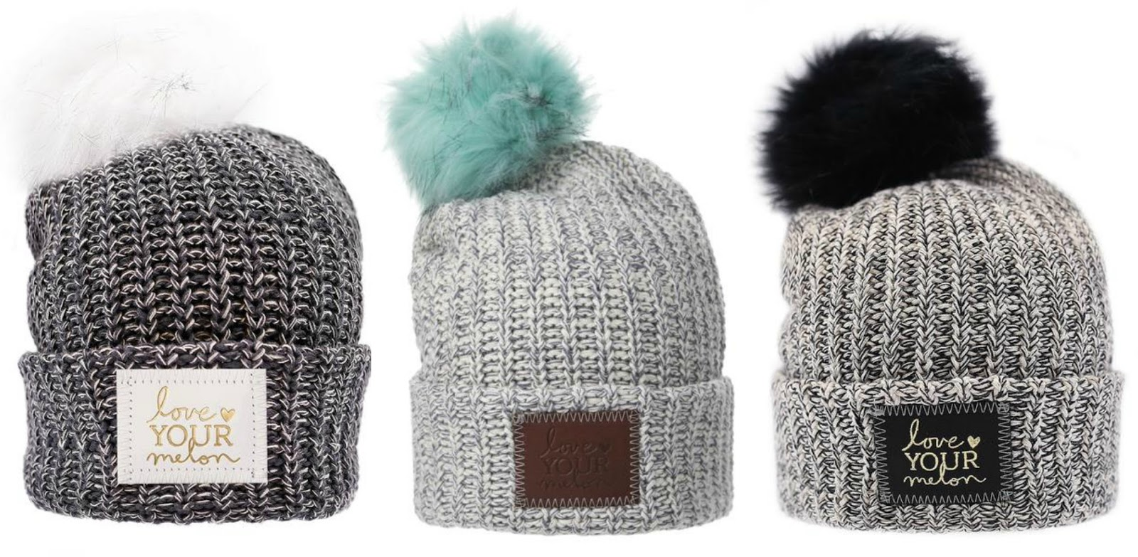 481520fed93 Left  CHARCOAL AND WHITE SPECKLED POM BEANIE   Center  GRAY SPECKLED POM  BEANIE (MINT POM)   Right  BLACK SPECKLED GOLD FOIL CUFFED POM BEANIE  (BLACK POM)