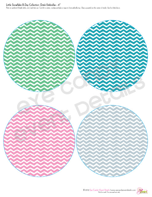 chevron coasters, chevron drink umbrella, kids birthday, winter birthday
