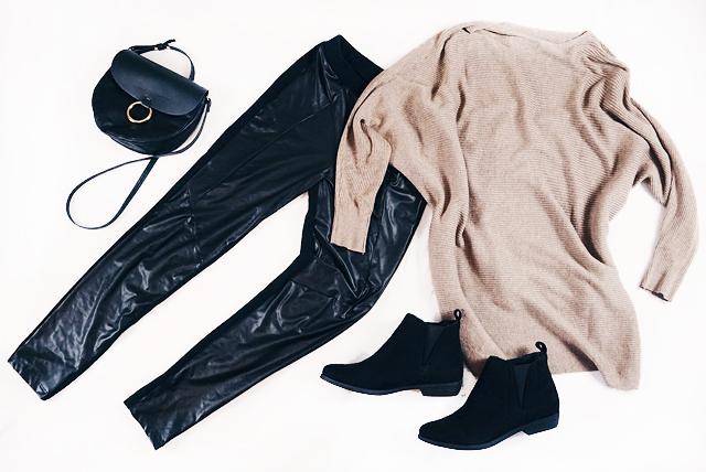 Herbst Fashion Overzisez Pulli Mango Leder Leggins Calzedonia