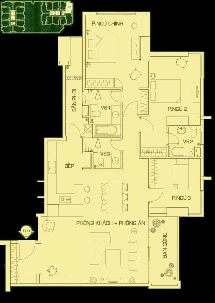 căn hộ 3 phòng ngủ tháp r1, the Everrich
