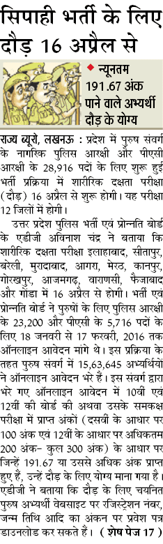 UP Police Constable Physical Test Date 2016 Pet Pst Result