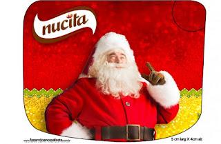 Etiqueta Nucita de Santa Claus en Rojo y Dorado para imprimir gratis.