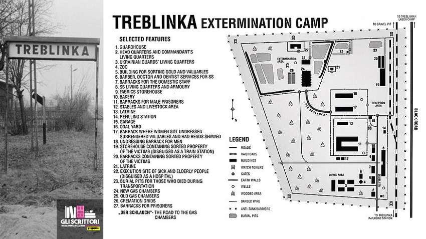 Nel campo di Treblinka c'erano 13 camere a gas. I cadaveri prima venivano sepolti in enormi fosse, poi per eliminare più velocemente i corpi, venivano bruciati. Vennero uccise circa 900.000 persone. I sopravvissuti furono circa 20.