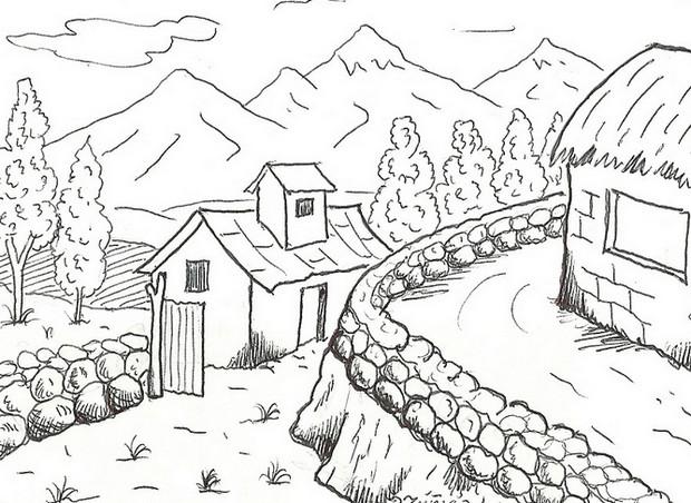 Gambar Mewarnai Alam Pemandangan Rumah Pedesaan