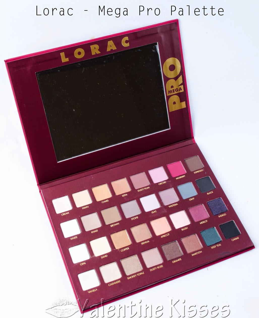 valentine kisses lorac mega pro palette swatches review