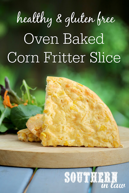 Easy Oven Baked Corn Fritter Slice Recipe - low fat, gluten free, healthy, kid friendly, clean eating recipe, vegetarian, side dishes, lunch, dinner, nut free, high protein recipe