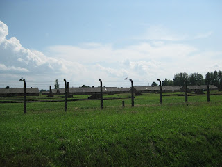 Rows and rows of barracks in Birkenau